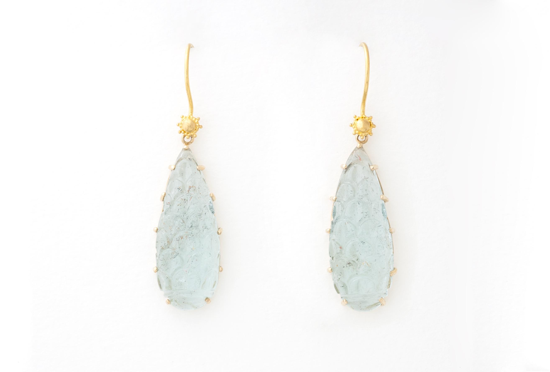 Carved Aquamarine earrings