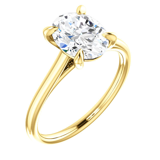 Oval Cut Diamond 4-Prong Cathedral 18k Yellow Gold
