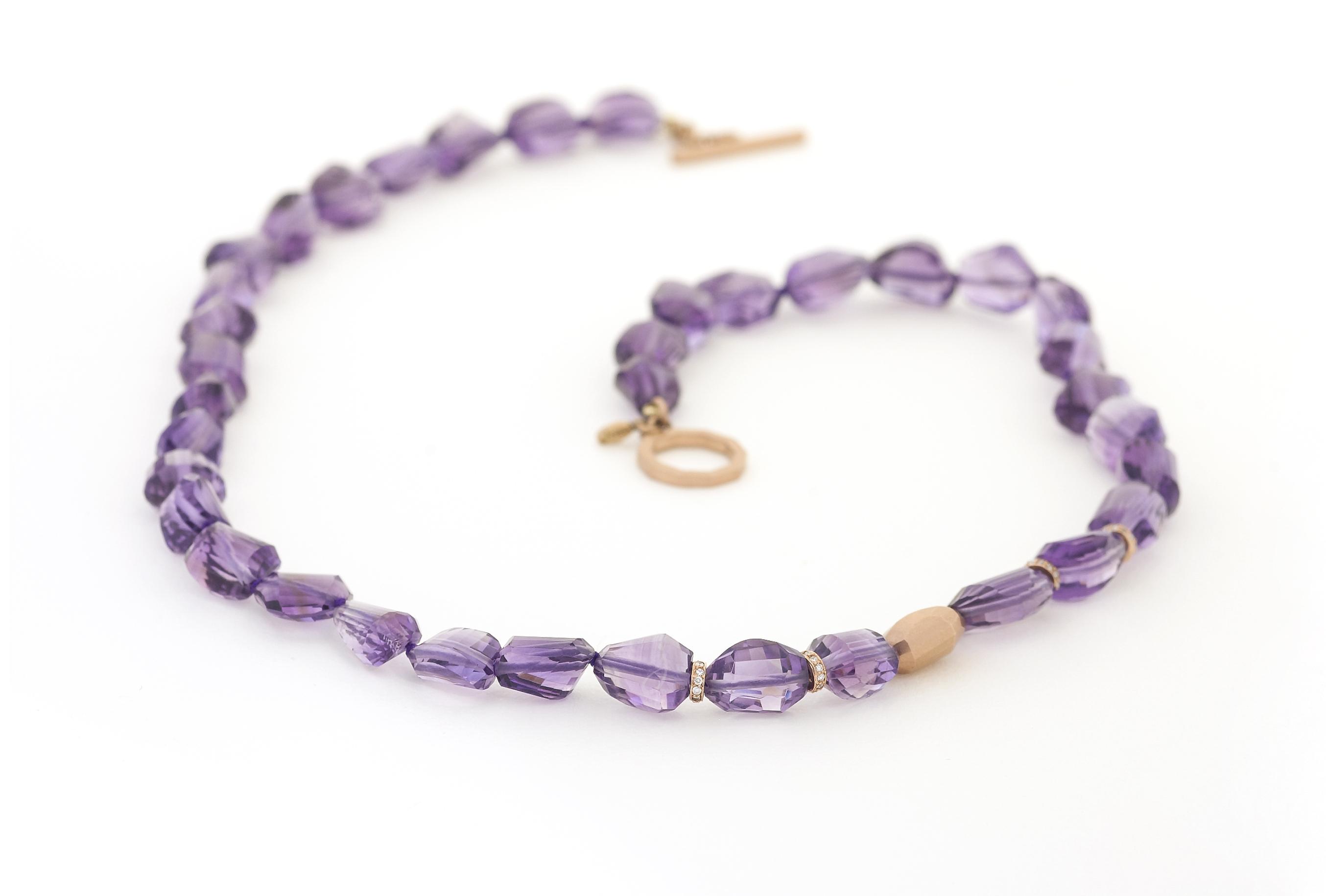 Amythest and Diamond necklace