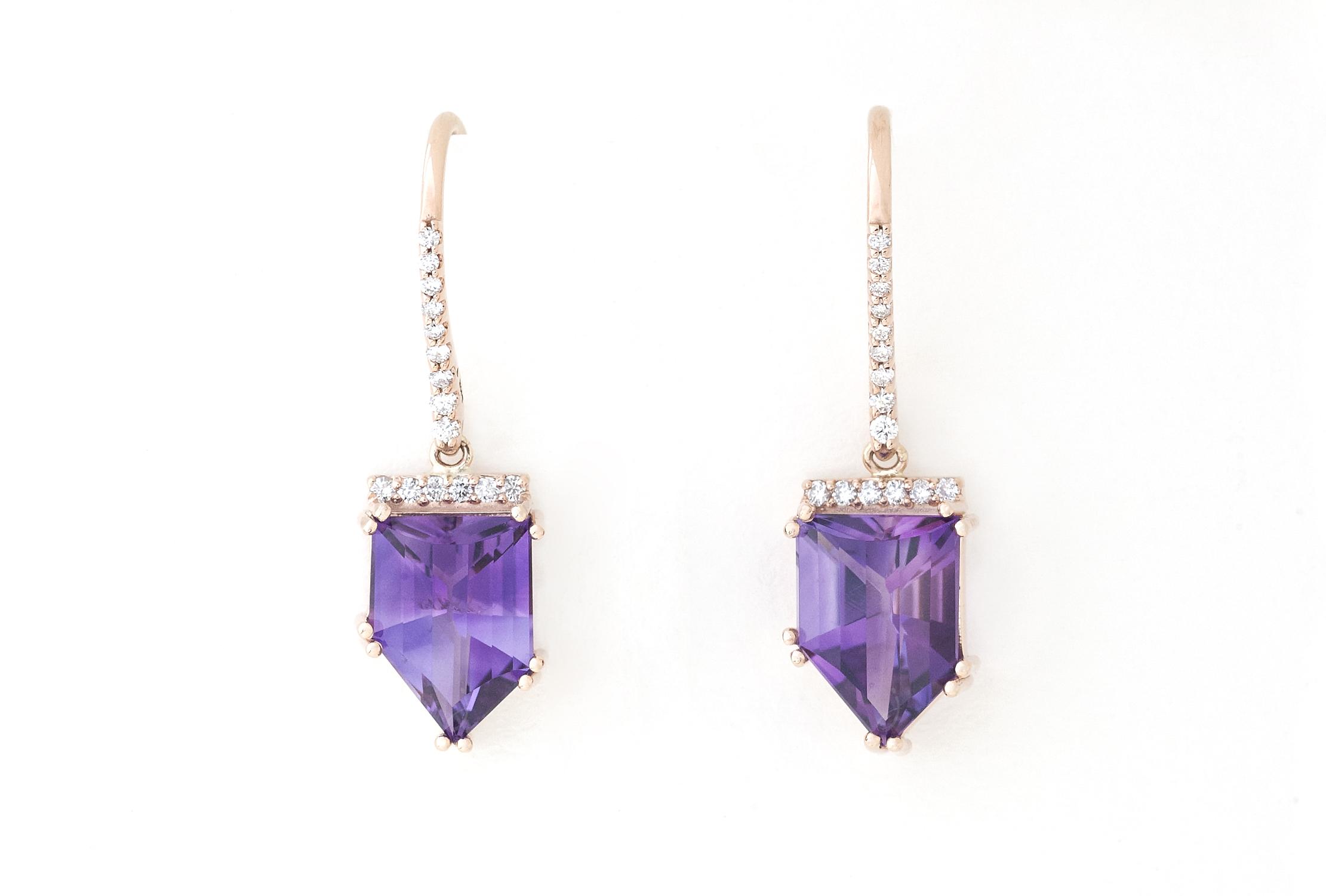 Amythest and diamond earrings