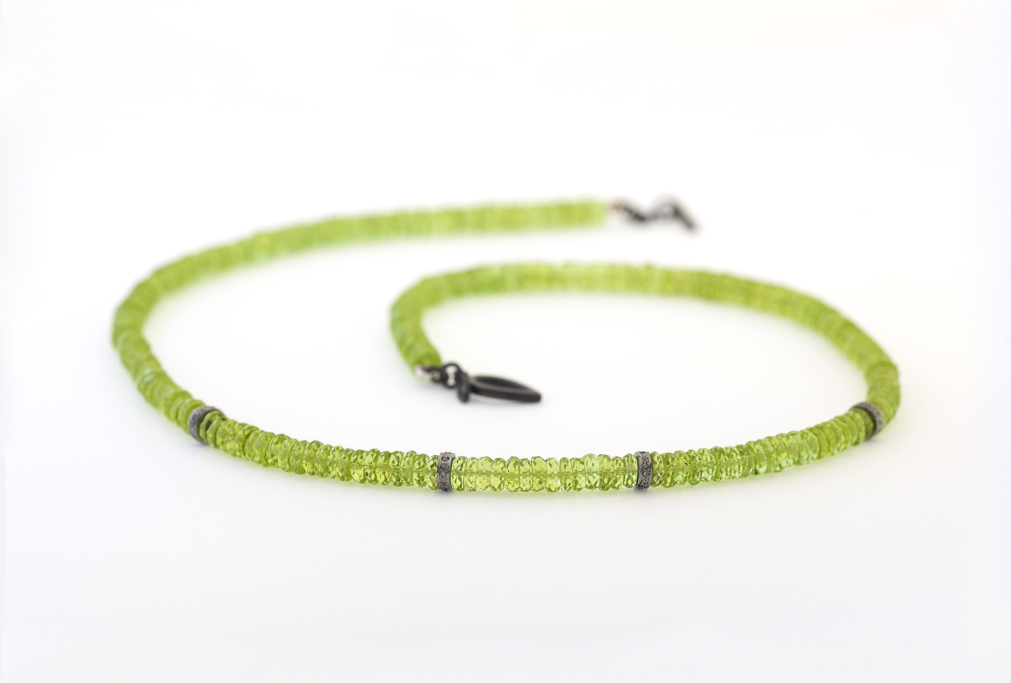 Peridot and gray diamond necklace