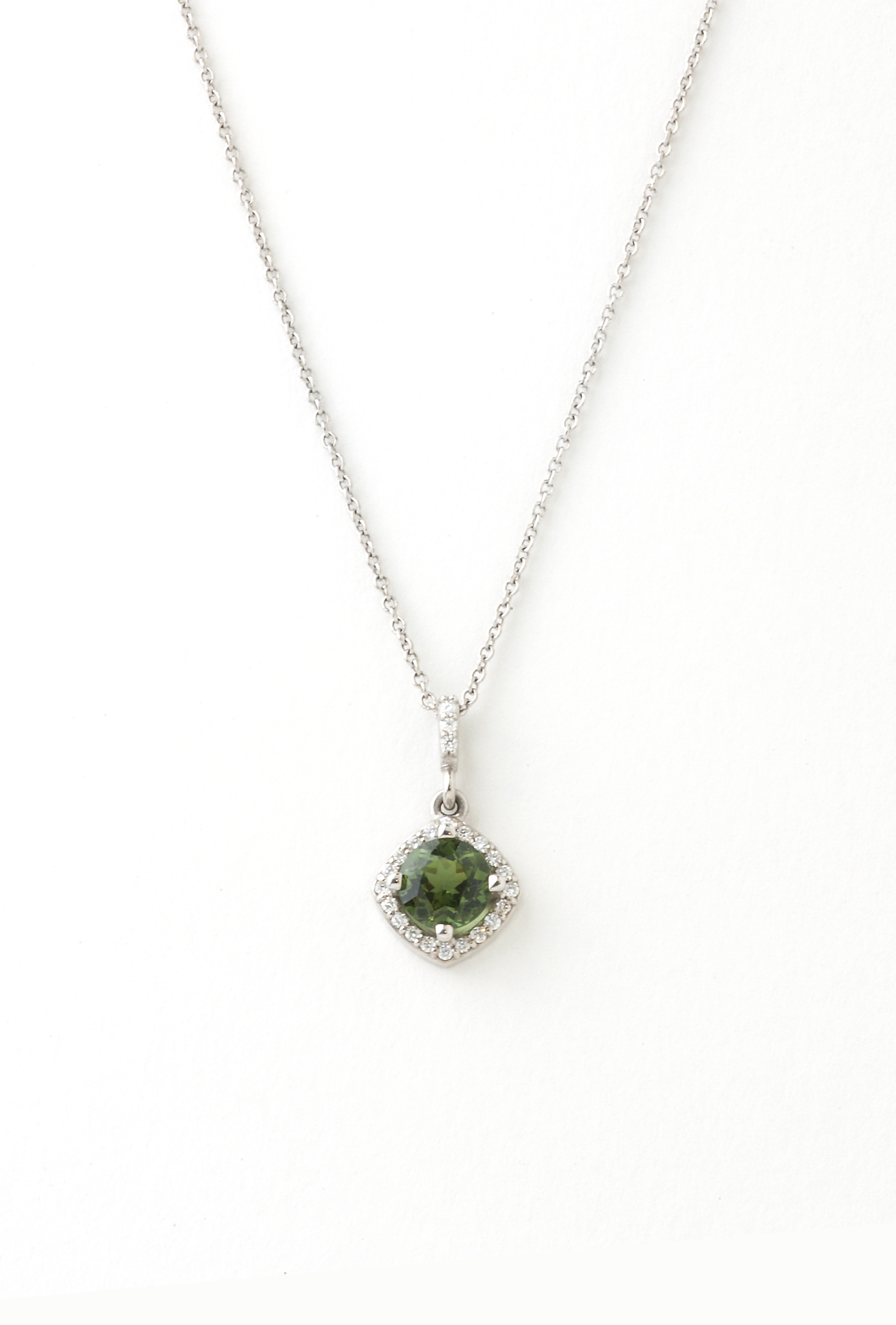 Green tourmaline and diamond pendent