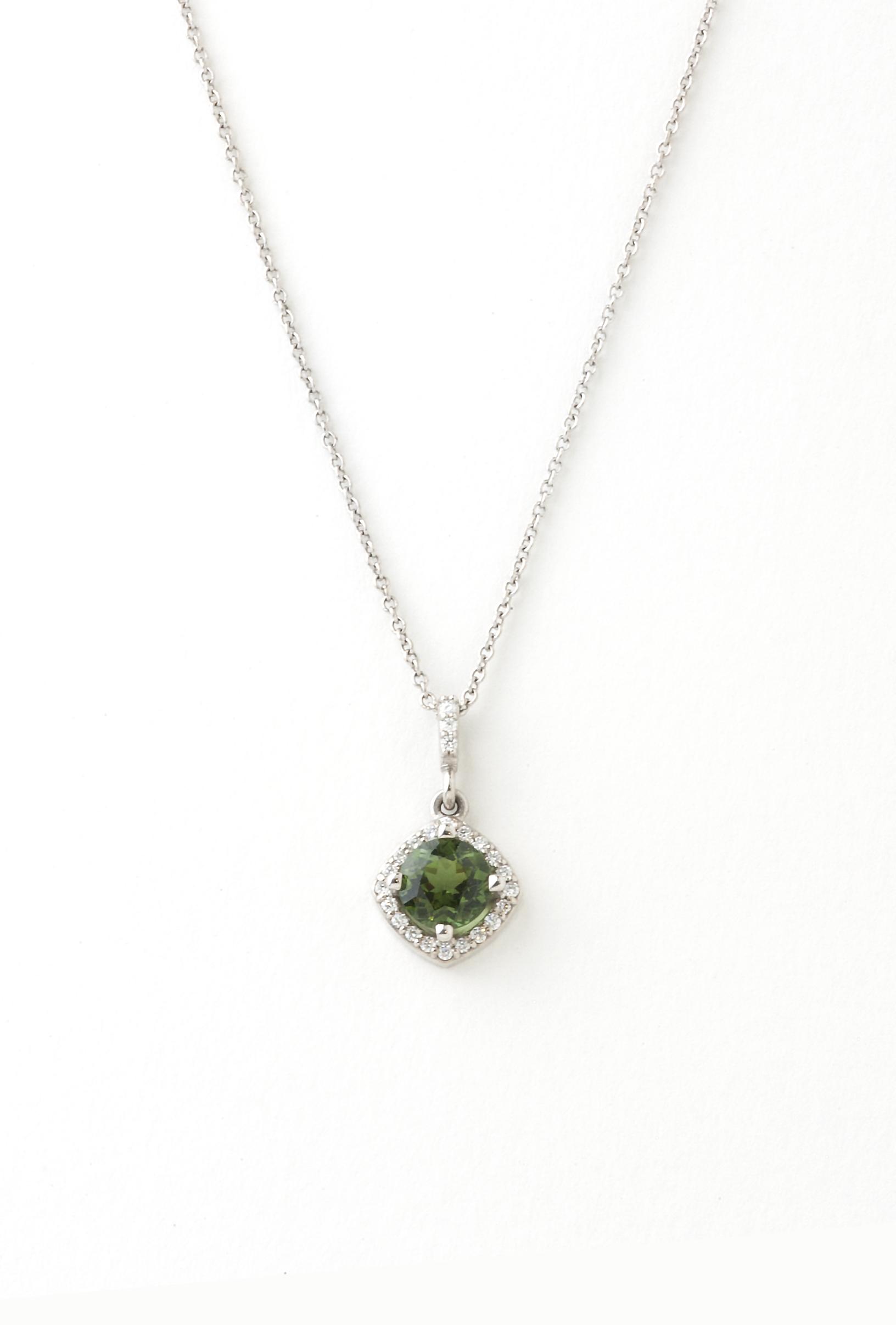 Green tourmaline and diamond pendent