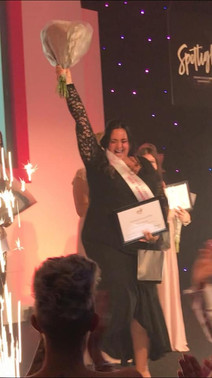 Kelly winning Leader of the Year 2019