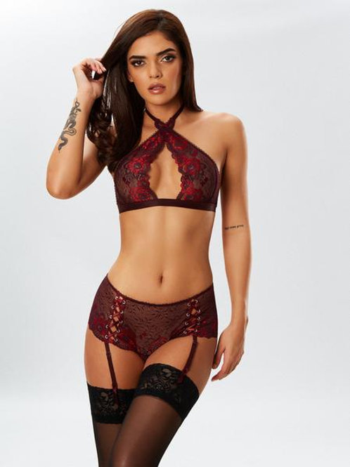 FIERCE EROTIC BRA AND CROTCHLESS BRIEF SET