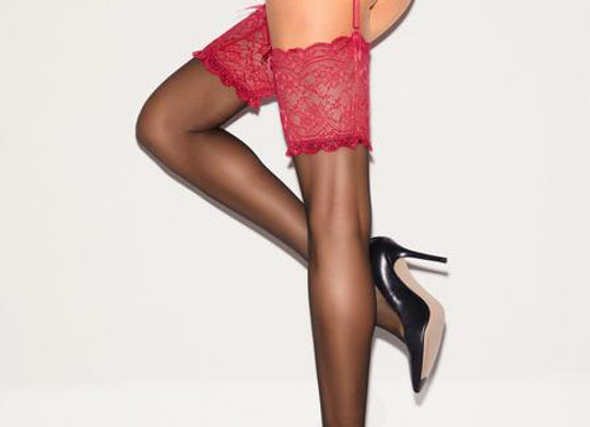 BOW BACK STOCKING AND SUSPENDER SET - Red
