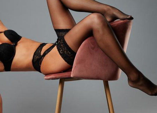 LACE TOP GLOSSY STOCKINGS - Black