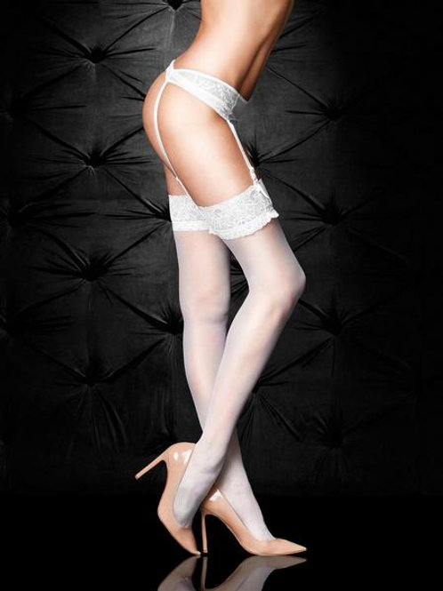 LACE TOP GLOSSY STOCKINGS - White
