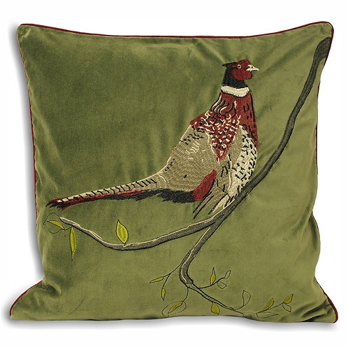 Velvet Pheasant Cushion - Green 45cm x 45cm