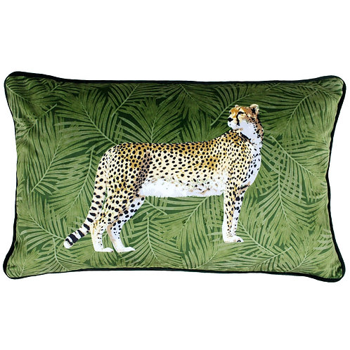 Cheetah Forest Cushion 30cm x 50cm Green