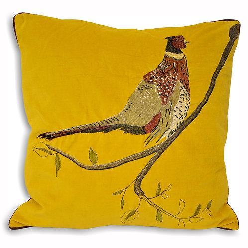 Velvet Pheasant Cushion - Mustard 45cm x 45cm
