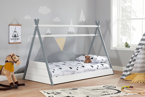 Teepee Bed 90cm Single Grey/White