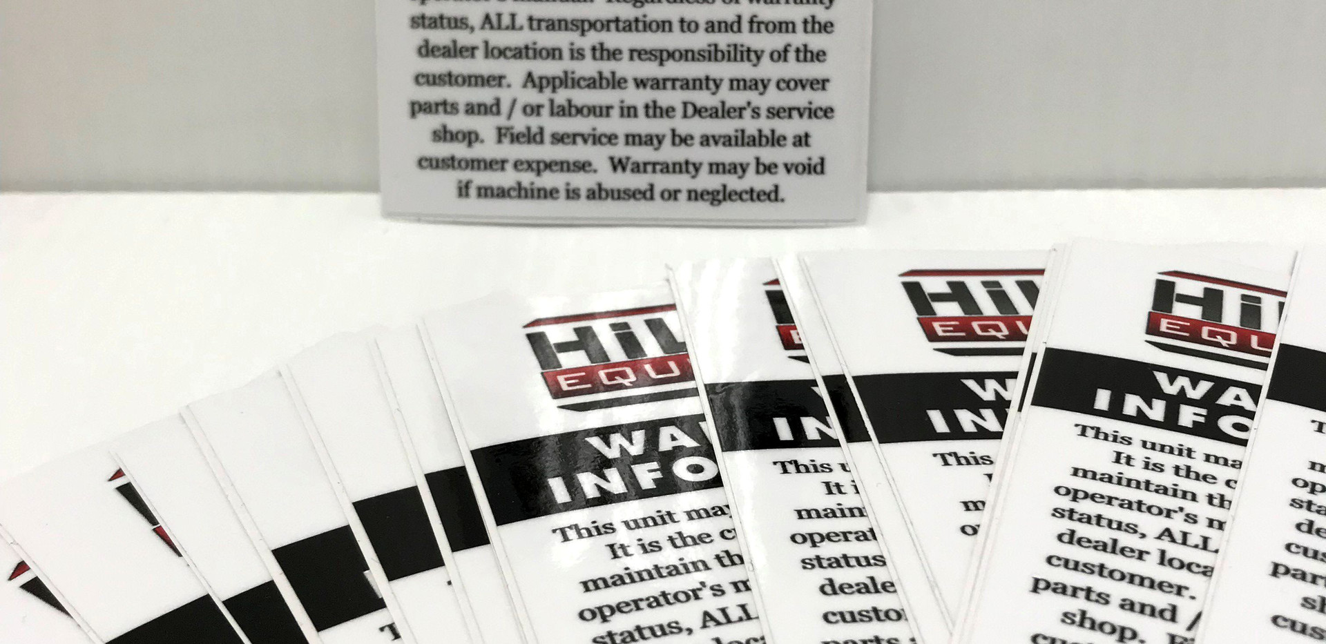 HiLine Warranty Labels