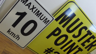 Speed Limit & Muster Point Reflective Signs
