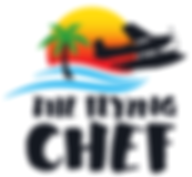 The Flying Chef | Business Logo | tropical island sunset seaplane | Nathan Huxham | The Flying Chef
