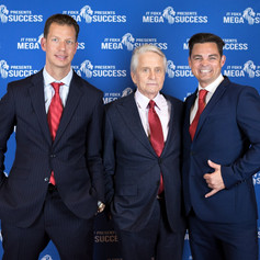 The Flying Chef Nathan Huxham with Michael Douglas and JT Foxx