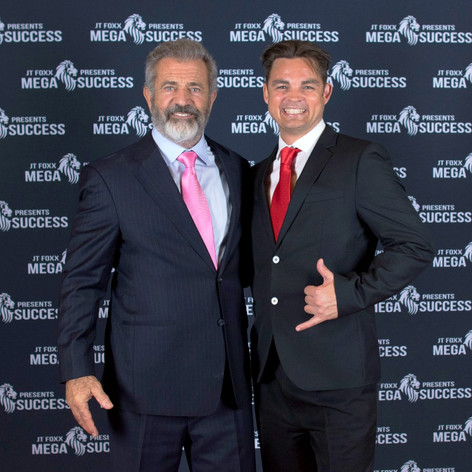 The Flying Chef Nathan Huxham with Hollywood sensation Mel Gibson
