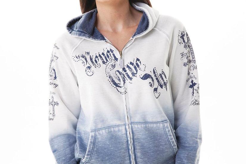 White and Blue Zip Hoodie (000414)