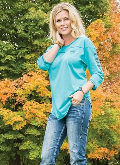 Lightweight turquoise 3/4 sleeve tee (F00350)
