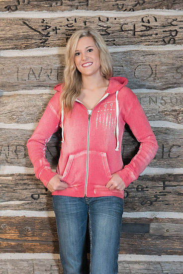 Red distressed hoodie (S00690)