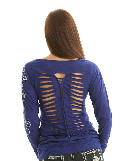 Sapphire blue long sleeve tee (F00170)