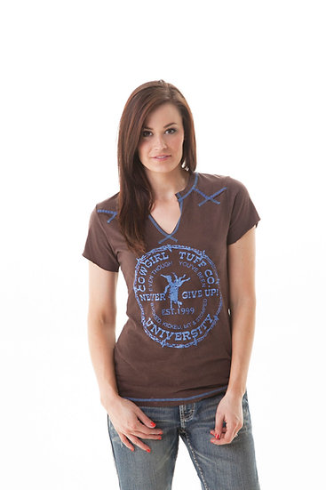 Brown tee with blue stitching (000437)