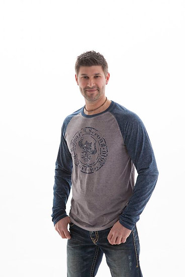 Mens l/s blue and grey burnout (H00374)