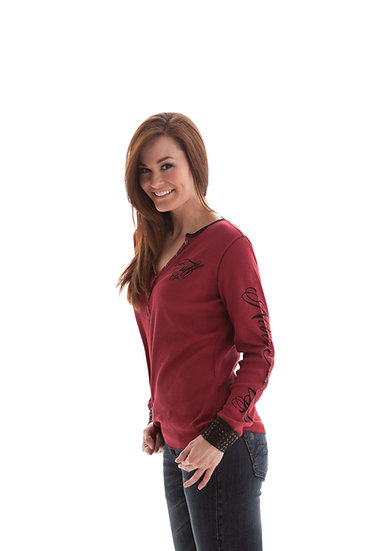 Red Thermal Henley (H00360)
