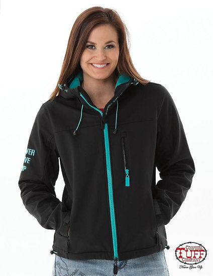 Black & Turquoise Hooded Jacket (H00501)