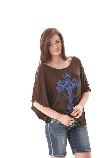 Brown cut sleeve tee (000427)