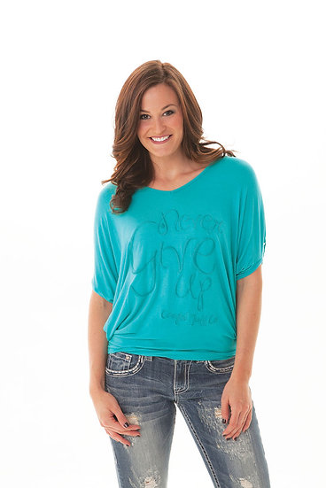 Turquoise Flowy blouse (H00401)