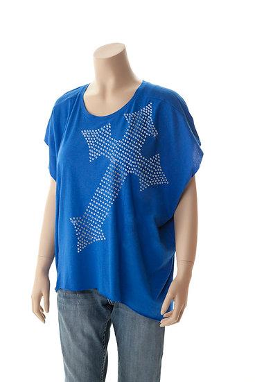 Blue short sleeve flowy tee (000335)