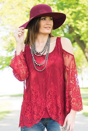 Red lace cold shoulder l/s (100121)