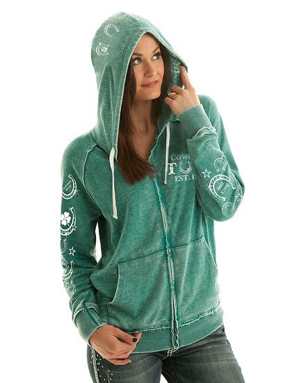 Aqua green zip hoodie (F00174)