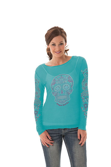 Turquoise sheer top (H00400)