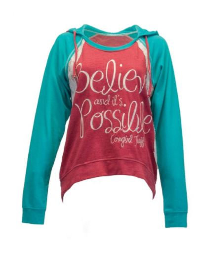 Red and turquoise hoodie (F00351)