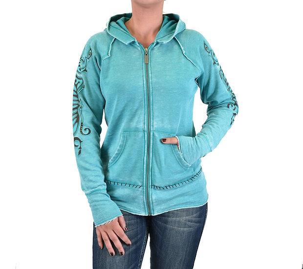 Turquoise burnout fleece zip hoodie (H00423)