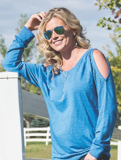 Blue burnout cold shoulder sweatshirt (F00312)