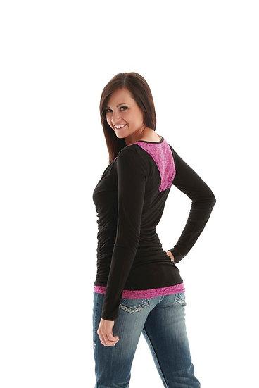 Black L/S shirt with lace (H00324)