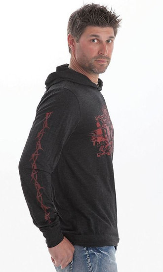 Mens charcoal l/s with red print (S00716)