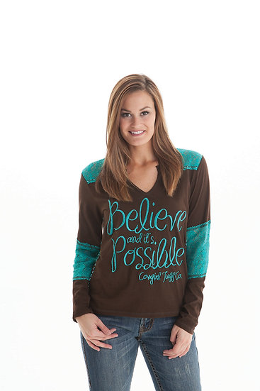 Brown l/s tee turquoise lace accent (F00283)