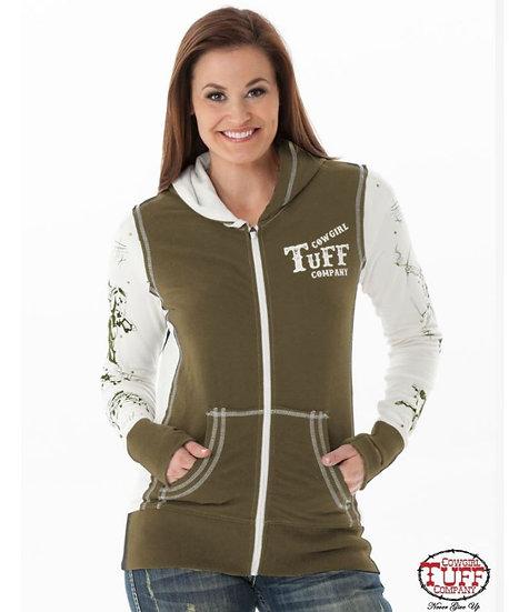 Army green & cream athletic zip hoodie (H00484)