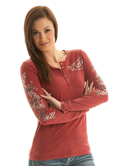Red henley with silver print (F00200)