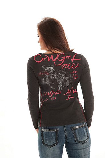 Black L/S tee with studded sides (F00233)