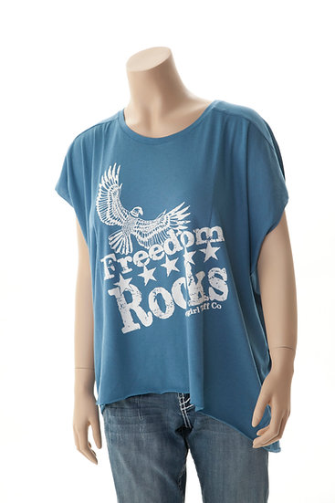 Vintage blue flowy shirt (000359)