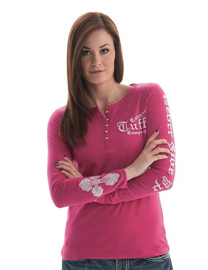 Pink long sleeve Henley (F00188)