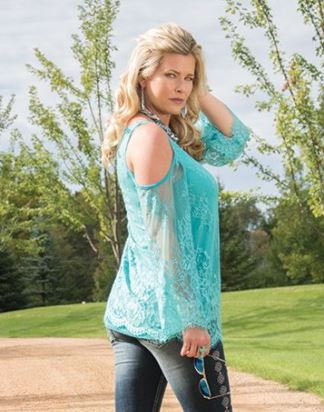 Turquoise lace cold shoulder (F00313)