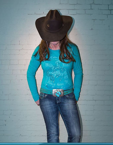 Turquoise l/s tee with horse print (H00424)