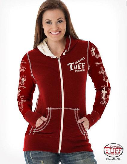 Red & cream athletic zip hoodie (H00498)