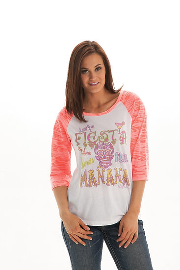 White and pink 3/4 tee (S00560)
